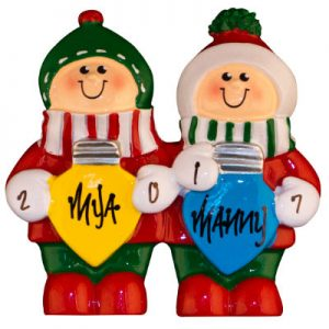 Colorful Christmas Lights Table Top Family Of 2 Christmas Ornament