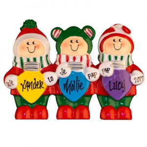 Colorful Christmas Lights Table Top Family Of 3 Christmas Ornament