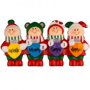 Christmas Elves Table Top Family of 4 Personalized Ornament