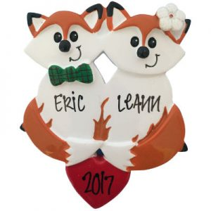 Fox Couple Christmas Ornament