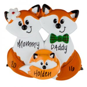 Fox Family of 3 Christmas Ornament
