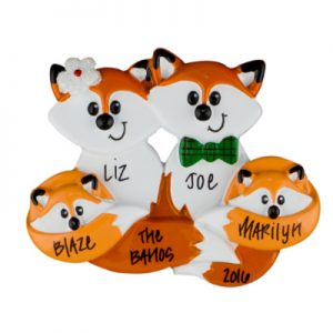Fox Family of 4 Christmas Ornament