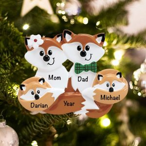 Personalized Fox Family of 4 Christmas Ornament