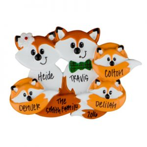 Fox Family of 5 Christmas Ornament