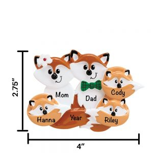 Fox Family of 5 Personalized Christmas Ornament