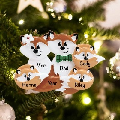 Personalized Fox Family of 5 Christmas Ornament
