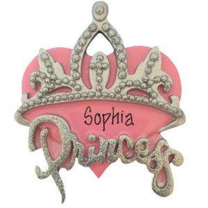 Princess Pink Heart & Crown Christmas Ornament