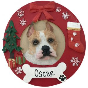 Pit Bull (Fawn & White) Christmas Ornament