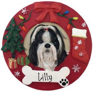 Shih Tzu (Black & White) Christmas Ornament
