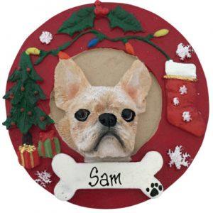 French Bulldog (White) Christmas Ornament