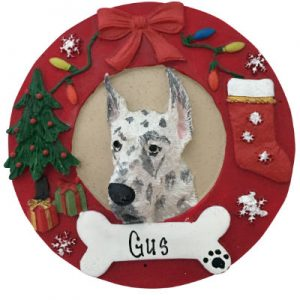 Harlequin Dane Dog Christmas Ornament