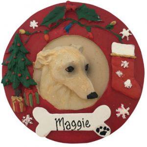 Greyhound (Fawn & White) Christmas Ornament