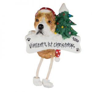 Pit Bull (Tan & White) Christmas Ornament