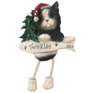 Black & White Cat Christmas Ornament
