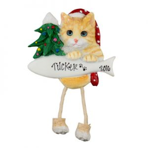 Tabby Cat (Orange) Christmas Ornament