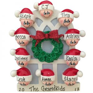 Christmas Window Family of 10 Christmas Ornament