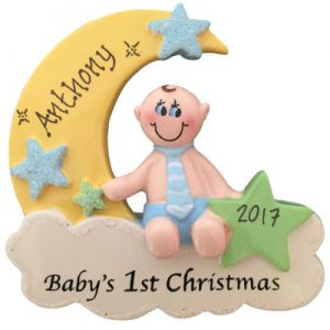 Baby's 1st Christmas Boy on Cloud Christmas Ornament
