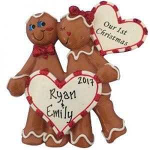 Gingerbread Heart Couple Christmas Ornament