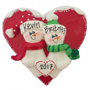 Red Heart Snow Couple Christmas Ornament