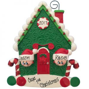 Candy Cane House Family of 2 Christmas Ornament