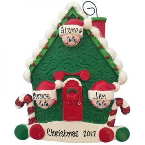 Candy Cane House Family of 3 Christmas Ornament