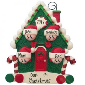 Candy Cane House Family of 4 Christmas Ornament
