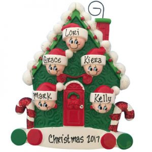 Candy Cane House Family of 5 Christmas Ornament