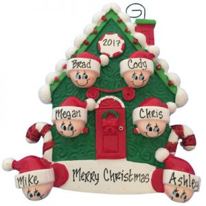 Candy Cane House Family of 6 Christmas Ornament