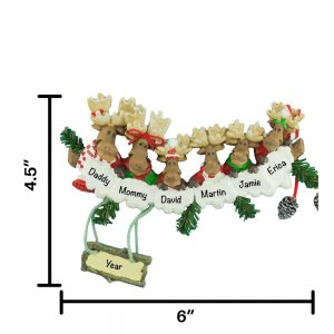 Moose Family of 6 Personalized Christmas Ornament