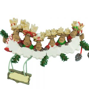 Moose Family of 6 Personalized Christmas Ornament - Blank