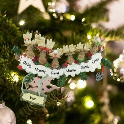 Personalized Moose Family of 6 Christmas Ornament