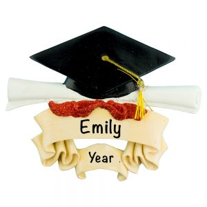 Graduation Cap and Scroll Personalized Christmas Ornament