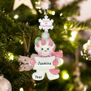 Personalized Pink Babys First Christmas Snowman Girl Christmas Ornament