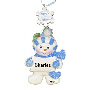 Blue Baby's 1st Christmas Boy Snowman Personalized Christmas Ornament - Blank