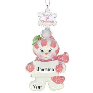 Pink Baby's 1st Christmas Snowman Girl Christmas Ornament