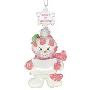 Pink Baby's 1st Christmas Snowman Girl Christmas Ornament Blank