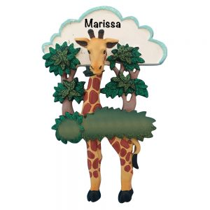 Giraffe Zoo Personalized Christmas Ornament - Blank