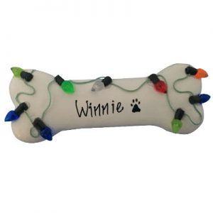 Christmas Lights White Dog Bone Christmas Ornament