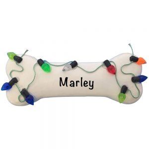 Dog Bone Christmas Lights Personalized Christmas Ornament