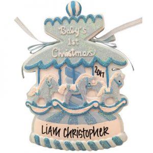 Baby's 1st Christmas Blue Christmas Carousel Christmas Ornament