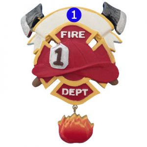 Fire Dept with Flame Christmas Ornament