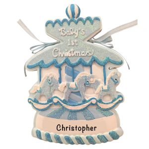 Baby's 1st Christmas Boy Carousel Personalized Christmas Ornament