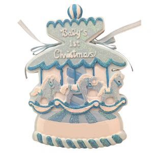 Baby's 1st Christmas Boy Carousel Personalized Christmas Ornament - Blank