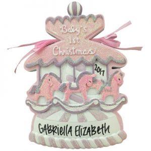 Baby's 1st Christmas Pink Christmas Carousel Christmas Ornament