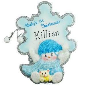 Baby's 1st Christmas Snowflake Blue Christmas Ornament