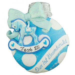 Blue 1st Grandchild Ball Personalized Ornament