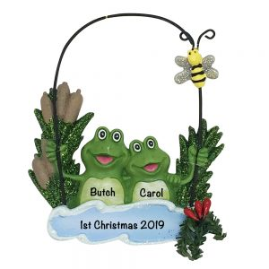 Frog Pond Couple Personalized Christmas Ornament