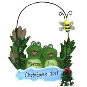 Frog Pond Couple Personalized Ornament