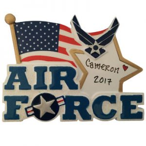 Air Force Flag & Star Christmas Ornament