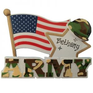 Army Flag & Star Christmas Ornament
